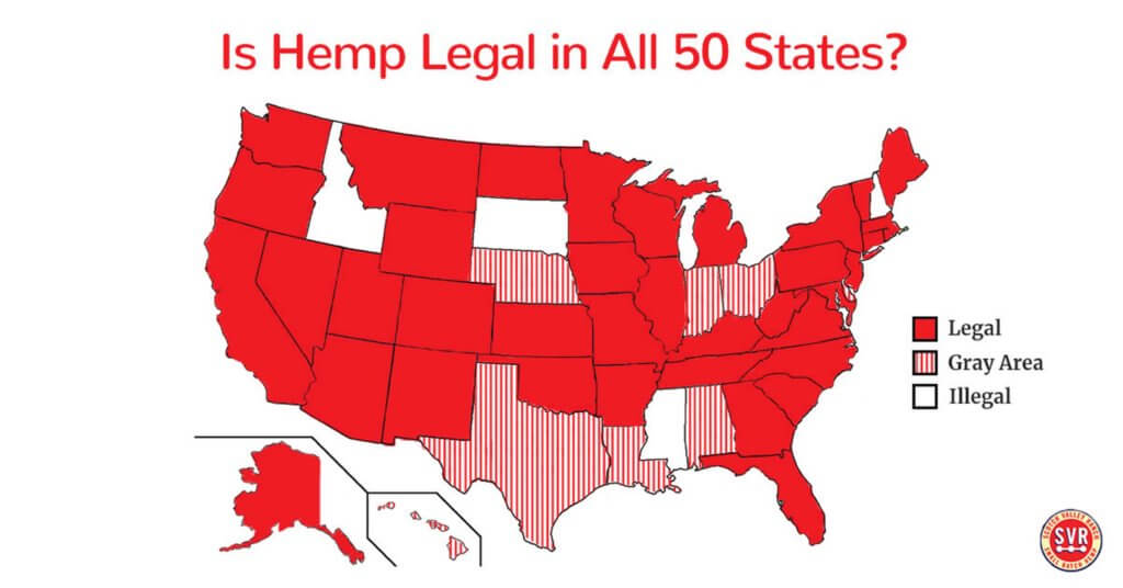Map of US States Hemp Legality