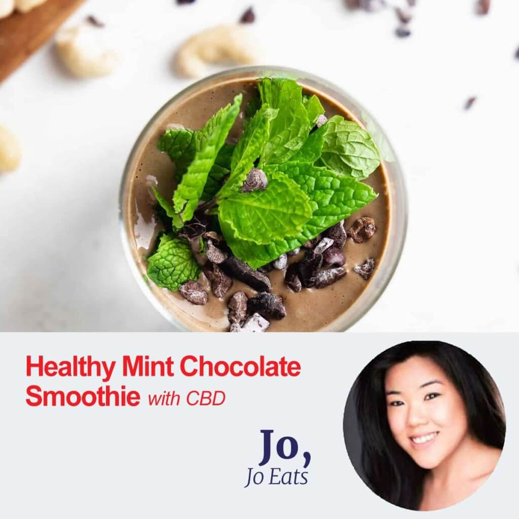 healthy mint chocloate smoothie with CBD